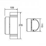 Размер уличного настенного светильника TUBE 78061