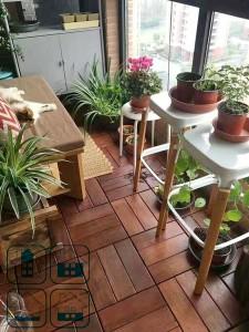 Напольное покрытие на балконе - садовый паркет 300х300 мм