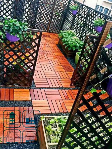 Садовый паркет из кемпаса 300х300 мм