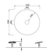 Размеры вертушки Чаша KOMPAN ELE500007
