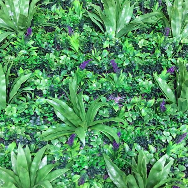 Искусственная изгородь Микс 027 зеленая трава с синими цветами