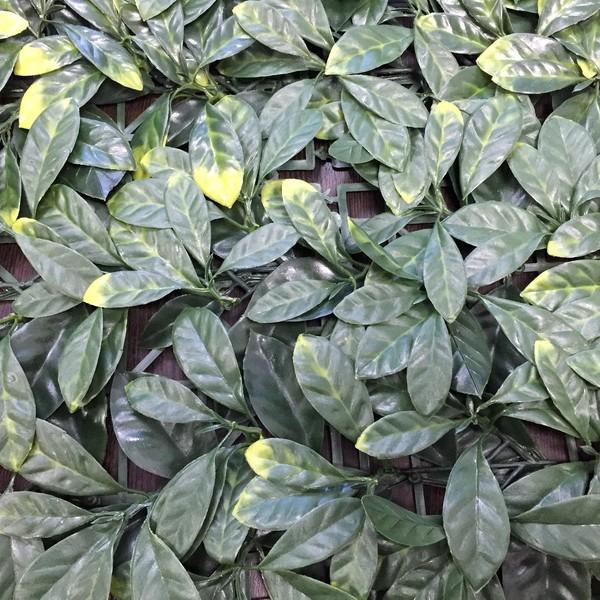 Зеленая искусственная изгородь в модулях Магнолия зелено-желтая