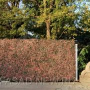 Живая изгородь из искусственной зелени Самшит зелено-розовый
